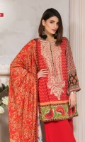 Printed Linen Shirt With Embroidered Neck Printed Twill Dupatta