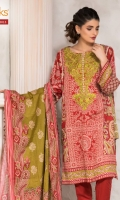 Printed Satin Shirt With Embroidered Neck Printed Dobby Dupatta Cambric Dyed Shalwar