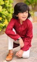 Maroon Khaddar Kurta with wood buttons and White Cotton Shalwar