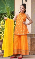 Orange Cotton with Screen Print Top, Orange Cotton Pants with Screen Print, Yellow Chiffon Dupatta with Screen Print.