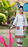 Digital Printed Lawn Top with Embellishments, White Cotton Trouser with Print and Hot Pink Chiffon Dupatta