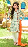 Digital Printed Lawn Top with Embellishments, White Cotton Shalwar with Print Patti and Orange Soft Net Dupatta