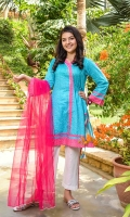 Digital Printed Lawn Kurta with Embellishments, White Cotton Trouser with Print Panelling and Hot Pink Soft Net Dupatta