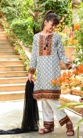 Digital Printed Lawn Kurta with Embellishments, Cotton Trouser with Print Panelling and Black Chiffon Dupatta