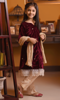 Maroon Velvet Top with Hand Adda Work and Lace, Gold Banarasi Straight Pants and Gold Crush Dupatta