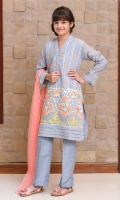 Grey Currandy with Embroidery & Laces with Lining Inside, Grey Raw Silk Straight Pants & Coral Soft Net Dupatta