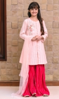 Light Pink Zari Missouri with Full Sequence Embroidery and Applique Embroidered 3D Motif, Hot Pink Zari Net Gharara with Embroidery and Light Pink Soft Net Dupatta with Pearl Pico