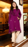 Purple Chiffon Top with Hand Adda Work and Lining Inside, Gold Banarasi Trouser and Printed Chiffon Dupatta Stitched with Suit