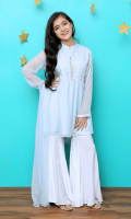Tiffany Blue Chiffon Top with Embroidery and Hand Work Touching and Lining Inside, White Boski Linen Gharara and Tiffany Blue Chiffon Dupatta
