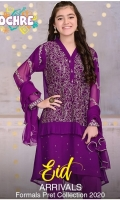 Purple Chiffon Top with Embroidery and Hand Adda Sequence Work plus Fancy Buttons and Lining Inside, Purple Raw Silk Trouser and Purple Chiffon Dupatta with Pearl Pico