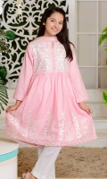 Powder Pink Cotton Top with Embroidery, White Cotton Pants and Powder Pink Soft Net Dupatta with Pearl Pico