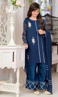 Dark Blue Chiffon Top with Gota Lace and Embroidery + Lining, Dark Blue Raw Silk Bell Bottom with Lace Work, Dark Blue Chiffon Dupatta with Lace Work
