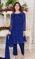Royal Blue Chiffon With Hand Adda Work and Screen Print and Lining Inside, Royal Blue Raw Silk Capri Pants and Royal Blue Chiffon Dupatta with Pearl Pico