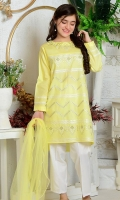Lemon Yellow Cotton with Embroidery and Hand Adda Work, White Cotton Trouser and Yellow Soft Net Dupatta with Pearl Pico