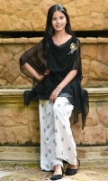 Black Chiffon Top with Hand Adda Work Motif and Lining, White Cotton Pants with Screen Print