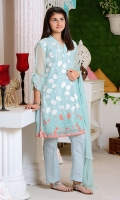 Mint Chiffon Fully Embroidered with Lining Inside, Mint Raw Silk Trouser and Mint Chiffon Dupatta with Pearl Pico