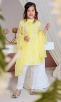 Lemon Yellow Chiffon with Embroidery, Hand Work on Placket and Lining Inside, White Raw Silk Pants and Lemon Yellow Chiffon Dupatta with Pearl Pico