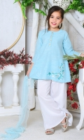 Blue Chambray Cotton Top with Embroidery and Mirror Work, White Boski Linen Bell Bottom Pants, Blue Soft Net Dupatta with Pearl Pico
