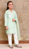 Mint Chambray Cotton Top with Applique Embroidery Motif and Lace Work, White Raw Silk Trouser with Laces and Mint Soft Net Dupatta with Pearl Pico