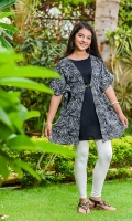 Printed Linen Cape with Chain and Black Linen Inner Attached