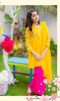 Chiffon Double Layered Top with Hand Work on Yoke, Chiffon Double Layered Flair Trouser & Chiffon Dupatta with Pearl Piping.