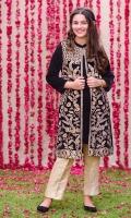 Black Velvet Coat with Gota Work Embroidery and Black Velvet Inner, Gold Banarasi Straight Pant
