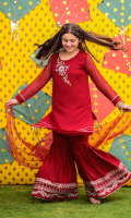 Maroon Chiffon Top with Hand Adda Work and Lining Inside, Maroon Raw Silk Gharara with Embroidery & Maroon Soft Net Dupatta with Lace