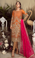 Embroidered chiffon for front: 1 yard  Embroidered organza border for front: 1 yard  Plain chiffon for back: 1 yard  Embroidered organza for back neck patch: 1 pcs  Embroidered organza border for back: 1 yard  Embroidered chiffon for sleeves: 0.75 yard  Embroidered organza 1 inch's border for sleeves: 1 yard  Embroidered chiffon for dupatta: 2.75 yards  Jamawaar for trousers: 2.50 yards  Embroidered organza motifs for trousers: 2 pcs