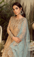 Embroidered chiffon for front & back yoke: 0.75 yard  Embroidered chiffon for front & back: 2.50 yards  Embroidered organza border for front & back: 3.25 yards  Embroidered chiffon for sleeves: 0.75 yard  Embroidered Net for dupatta: 2.75 yards  jamawar for trousers: 2.50 yards  Embroidered organza border for trousers: 1 yard