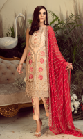 Embroidered chiffon for front: 1 yard  Embroidered chiffon for back: 1 yard  Embroidered organza border for front & back: 2 yards  Embroidered chiffon for sleeves: 0.75 yard  Embroidered organza border for sleeves: 1 yard  Embroidered chiffon for dupatta: 2.75 yards  Raw silk for trousers: 2.50 yards  Embroidered organza motifs for trousers: 2 pcs