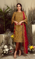 Embroidered Missouri for front: 1 yard  Embroidered Missouri for back: 1 yard  Embroidered organza border for front & back: 2 yards  Embroidered Missouri for sleeves: 0.75 yard  Embroidered chiffon for dupatta: 2.75 yards  Jamawaar for trousers: 2.50 yards  Embroidered organza border for trousers: 1 yard