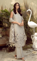 Embroidered chiffon for front: 1 yard  Embroidered organza border for front & sleeves: 1 yard  Embroidered chiffon for back: 1 yard  Embroidered organza border for back: 1 yard  Embroidered chiffon for sleeves: 0.75 yard  Embroidered Net for dupatta: 2.75 yards  Raw silk for trousers: 2.50 yards