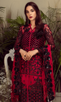 Embroidered chiffon for front: 1 yard  Embroidered organza motif for front: 2 pcs  Embroidered organza border for front: 1 yard  Embroidered chiffon for back: 1 yard  Embroidered organza border for back: 1 yard  Embroidered chiffon for sleeves: 0.75 yard  Embroidered organza border for sleeves: 1 yard  Embroidered chiffon for dupatta: 2.75 yards  Raw silk for trousers: 2.50  Embroidered organza motif for trousers: 2 pcs