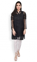 Organza ready to wear formal shirt Embroidery on the front Straight cut with straight full sleeves