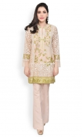 Heavily embroidered organza shirt with slip Straight cut with straight full sleeves