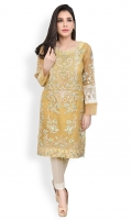 Heavily embroidered long organza shirt with slip and round neckline Straight cut with straight full sleeves