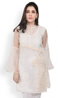 100% Pure organza embroidered shirt with slip Straight cut and peplum sleeves