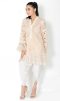 100% Pure lace shirt  Pearl embellished v-neckline Straight shirt and sleeves with pleated organza trimmings