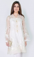 100% Pure organza fully embroidered shirt with slip High v-neckline with pearl tassels Straight cut and sleeves with feather accents