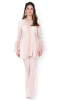 Lace peplum cut shirt with organza pleats in front Net peplum sleeves embellished with pearls