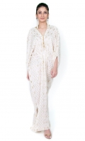 Chikankari kaftan with gold kamdani V neck with pearls tassels on the neckline, slit on the bottom sides