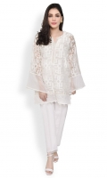 Boxy cut kurta with round v band neckline embellished with pearls Straight full sleeves with cotton net finishings