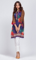 - Digital printed kurti  - Straight cut shirt with frayed trimmings on daman  - V neckline with organza pleats  Three straight sleeves with slit