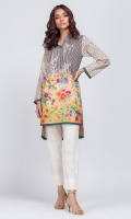 - Digital printed kurti  - High low cut kurta  High collar V neckline with pearls  Straight full sleeves