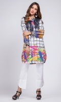 - Digital printed kurti  - Straight cut kurta  - One sided flap neckline  Balloon sleeves with cuffs