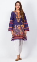 - Digital printed kurti  - Straight cut kurta  - Embroidered round neck  - Full bell sleeves  - Daman with organza detailing
