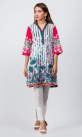 - Digital printed kurti  - Straight cut kurta  -V neckline  - Three quarter straight sleeves