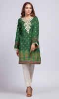 - Digital printed kurti  - Straight cut kurta  - Round embroidered    V neck  - Full bell sleeves with frills  - Printed daman