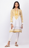 100% Lawn Ready To Wear Digital Kurti Straight shirt with high v neckline and pearls and embroidered full sleeves.