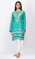 100% Heavy Lawn Ready To Wear Digital Kurti Straight shirt with embroidered neckline and straight full sleeves with frayed finishing